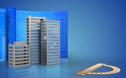 3d with drawing roll. 3d illustration of city buildings construction with drawing roll over blue background Royalty Free Stock Images