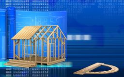 3d with drawing roll. 3d illustration of frame house construction with drawing roll over digital background Royalty Free Stock Photos