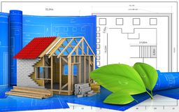3d with drawing roll. 3d illustration of frame house with drawing roll over blueprint background Stock Image