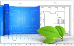 3d with drawing roll. 3d illustration of leafs with drawing roll over blueprint background Royalty Free Stock Photography
