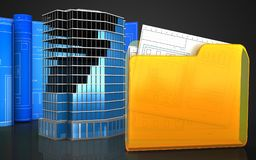 3d with drawing roll. 3d illustration of office building construction with drawing roll over black background Royalty Free Stock Photography