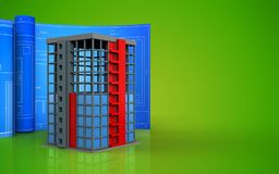 3d with drawing roll. 3d illustration of building construction with drawing roll over green background Stock Photo