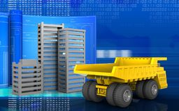3d with drawing roll. 3d illustration of city buildings construction with drawing roll over digital background Stock Images