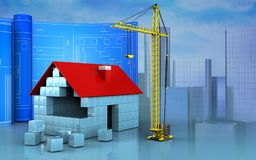 3d with drawing roll. 3d illustration of house blocks construction with drawing roll over skyscrappers background Stock Photography
