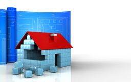 3d with drawing roll. 3d illustration of house blocks construction with drawing roll over white background Stock Photos