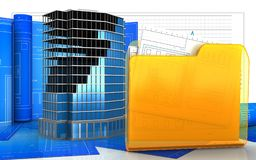 3d with drawing roll. 3d illustration of office building construction with drawing roll over business graph background Stock Photography