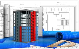 3d with drawings. 3d illustration of building construction with drawings over blueprint background royalty free illustration