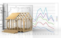 3d with drawings. 3d illustration of frame house construction with drawings over business graph background Stock Photos