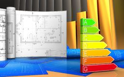 3d with drawings Royalty Free Stock Photo