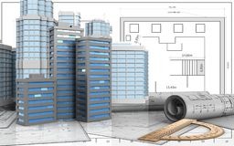 3d drawings rolls. 3d illustration of city buildings with urban scene over blueprint background Royalty Free Stock Photo