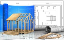 3d drawings rolls. 3d illustration of frame house construction with drawing roll over blueprint background Stock Photos