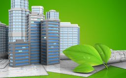 3d drawings rolls. 3d illustration of city buildings with urban scene over green background Stock Image