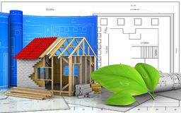 3d drawings rolls. 3d illustration of frame house with drawing roll over blueprint background Royalty Free Stock Image