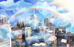 3D world dreamy city. 3D render of modern dreamy world, very high quality digital image Royalty Free Stock Photo