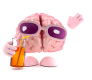 3d Drinking brain Stock Images