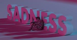 3d droefheid - geef het van letters voorzien dichtbij lage polymensenillustratie terug Stock Foto