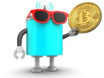 3d droid over white. 3d illustration of robot with with bitcoin over white background Royalty Free Stock Photo
