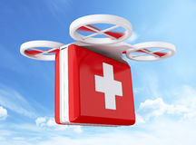 3D Drone carrying a first aid kit. 3d renderer image. Drone carrying a first aid kit. Delivery concept Stock Photography