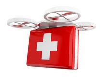 3D Drone carrying a first aid kit. Royalty Free Stock Photos