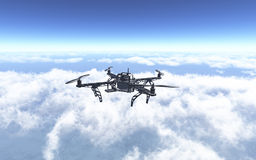 3D drone flying above the clouds. 3D render of a drone flying above the clouds Royalty Free Stock Photos