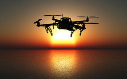 3D drone flying above a sunset sea. 3D render of a drone flying above the sea against a sunset sky Royalty Free Stock Photo