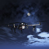 3D drone flying in a night sky. 3D render of a drone flying in a night sky Stock Images