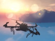 3D drone flying over the ocean with a sunset sky. 3D render of a drone flying over the ocean with a sunset sky Stock Photography