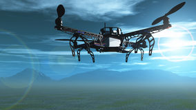 3D drone flying in the sky. 3D render of a drone flying in the sky over mountains Stock Photo