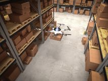 3d drone in warehouse Royalty Free Stock Image