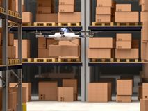 3d drone in warehouse Royalty Free Stock Photo