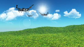 3D drones flying in a grassy landscape. 3D landscape of grassy hill with drones flying in a blue sky Stock Images