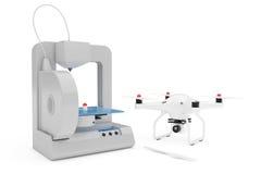 3D Drucker Printing Quadrocopter Drone Wiedergabe 3d Lizenzfreies Stockfoto