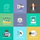 3D druk en modellerings vlakke geplaatste pictogrammen Stock Foto