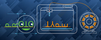 3d druk, gloeidraad, modellering, prototype, techniek, industriële ontwerpachtergrond vector illustratie