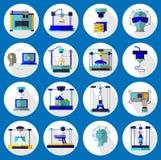 3D druk i 3D wzorowania set Obrazy Stock