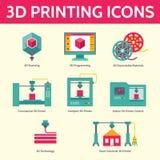 3D Druk Vectorpictogrammen in Vlakke Ontwerpstijl stock illustratie