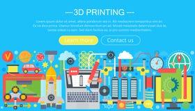 3d drukarki technologii pojęcia płaski set 3d wzorowania, druku i skanerowania sieci chodnikowiec, Zdjęcia Stock