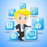 3D drukconcept Royalty-vrije Stock Afbeeldingen