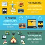3D drukowego sztandaru horyzontalny set, mieszkanie styl Obraz Stock