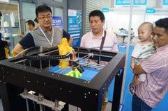 3D druktoepassingen en faciliteiten en Materiaaltentoonstelling Stock Foto's