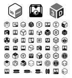 3D druku ikony set Zdjęcie Stock