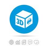 3D druku znaka ikona 3d sześcianu Drukowy symbol Obraz Stock
