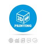 3D druku znaka ikona 3d sześcianu Drukowy symbol Zdjęcie Stock