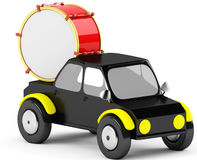 3D drum in a black car Royalty Free Stock Images