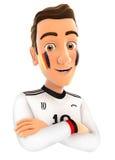 3d Duitse voetbalventilator met gekruiste wapens Stock Afbeeldingen