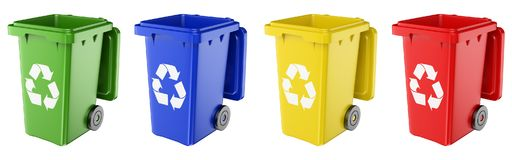 3D Dustbins of various colors Stock Image