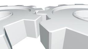 3d dwa animaci przekładnie biały kolor wirują Biały tło Alfa kanał z bliska royalty ilustracja