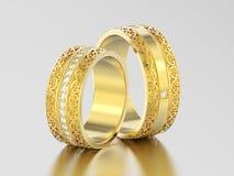 3D dwa ilustraci żółtego złota dekoracyjni ślubni zespoły rzeźbiący ilustracji