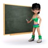 3d dziewczyna przed chalkboard Ilustracja Wektor