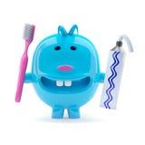 3d Dziwna błękitna istota z pasta do zębów i toothbrush royalty ilustracja